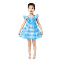 Best selling products blue gingham girls cotton baby kids frock designs