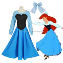 Ecoparty Cartoon The Little Mermaid Ariel Princess Dress Cosplay Women Costume Blue Outfits Adult