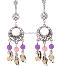 Dream catcher navel piercings hanging belly button rings belly button jewelry surgical steel dangle bars
