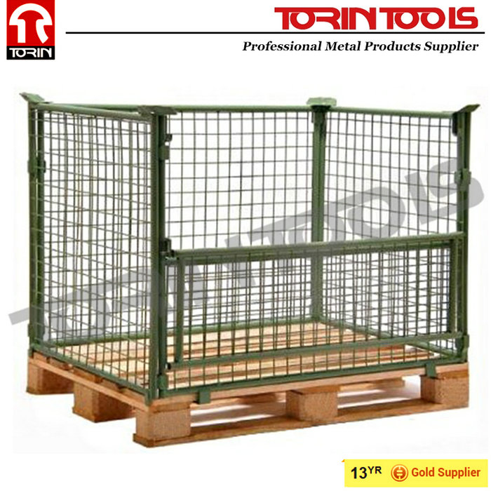 Supplier Removable Durable Zinc Coated Wire Steel Pallet Cage
