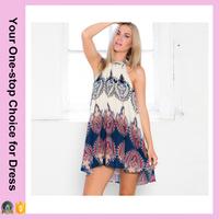 Fashion Women Boho Dress Loose Printed Halter Neck Sleeveless Mini Summer Dress