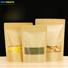 Specialized in making various stand up kraft paper bag plastic link paper pouch with clear window for food snack