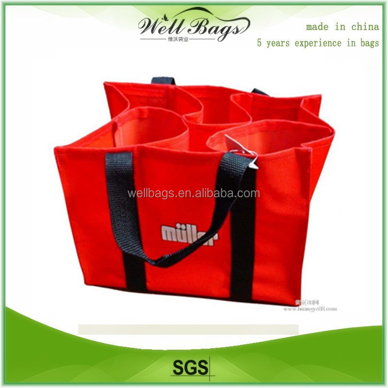 custom red 6 pack bottles non-woven shopping wine beer bag for promotion