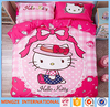Chinese lovely hello kitty bedding set king size printed bed sheet
