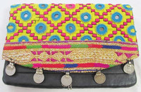 New 2015 Banjara clutch bag with coin and pompom decoration ethnic vintage bolsos
