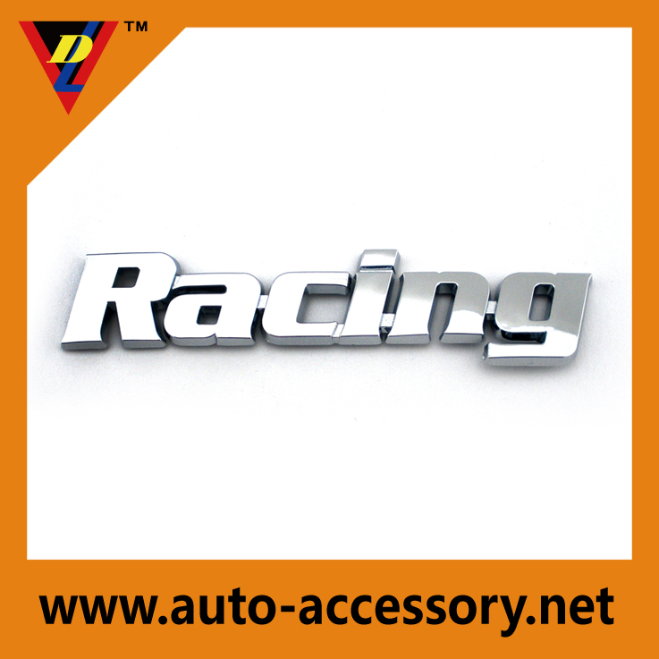 Custom 3d racing letter chrome plated car body stickers