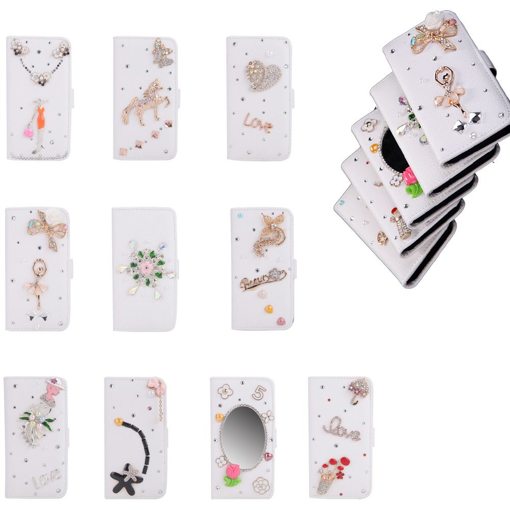 Big Sales Phone Case Cover Fashion Flip PU Leather Bling Flower Protective Case Cover Stand Card Holder for iPhone 6 Plus 6S