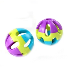 Hot selling dog toy squeakers wholesale,dog chew toy,Pet three color plastic small ball bell ring for sale