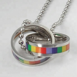 Fashion Jewelry Men's 316 Stainless Steel Rainbow Bicyclic Pendant Chain Necklace