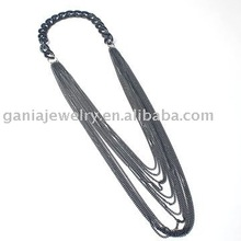 Fashion Jewelry, Gun Color Metal Black Chain Necklace for Garment