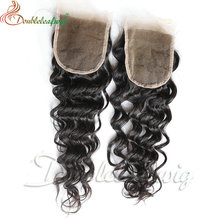 Cheap Brazilian hair deep wave free parting lace closure