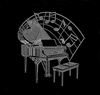 Custom Piano Heat Press Rhinestone Iron on Music Transfer Motif Applique