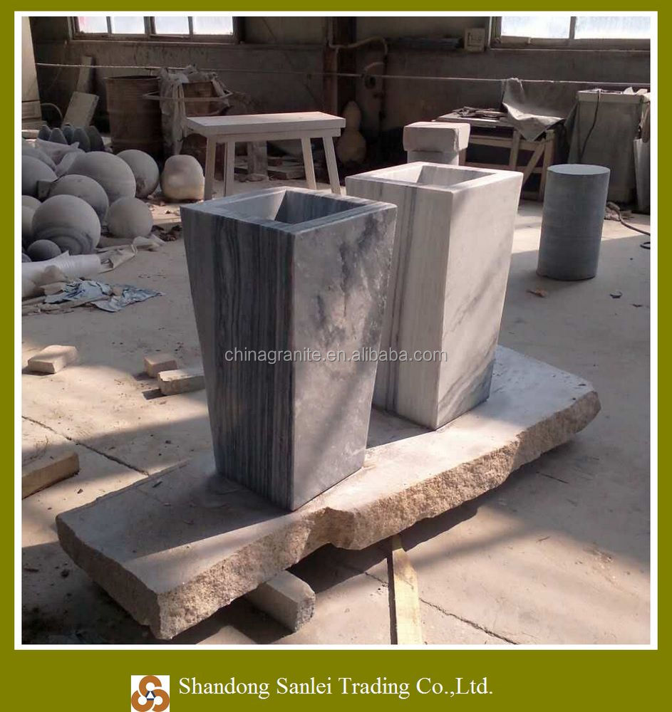 white grey marble ladder-shaped garden flower pot