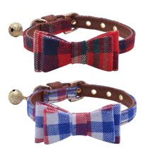 2017 Hot Sell Wholesale Fashion Pet Bow Tie Check Cotton Fabric Leather Padded Puppy Dog Cat Collars with Copper Ring