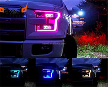 color changing LED angel eyes chasing flow LED halo rings for ford 2017 F150