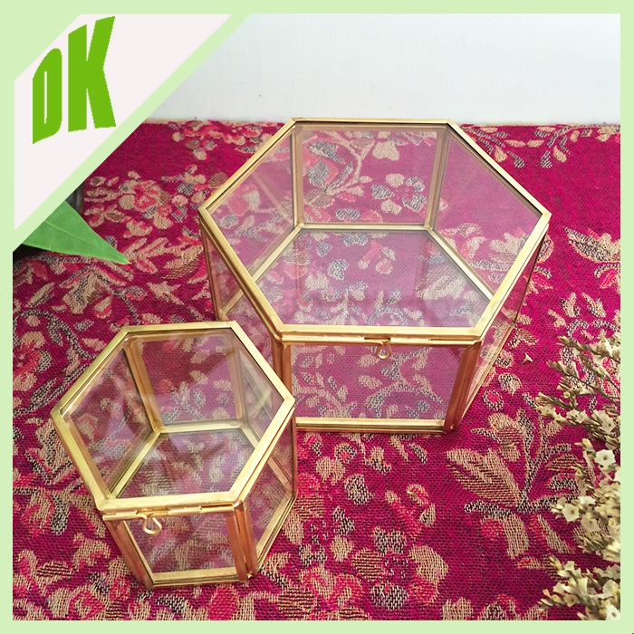 Display Wedding table photo/ flower/ candy/ baby shoes, Brass HEXANGON SHAPE(many shapes) Clear Glass Jewelry gift box lock