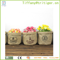 Eco-friend Cotton foldable Multi-fonction Small Storage Round Buckets Laundry Bag car trash bin
