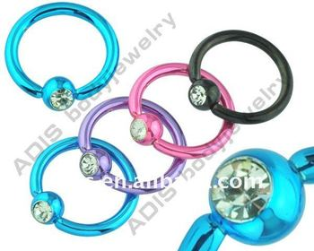 Jeweled Surgical Steel BCR Ball Closure Ring Body Piercing