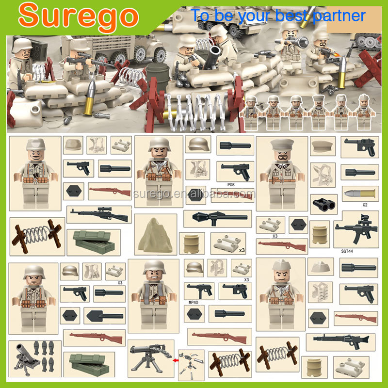 Building Block Toys Military Army Block Set ABS Plastic Construction Toy Educational Toy WW2 German Action Figures Soldier