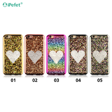 High quality shining glitter sparkly mobile cover for iphone6 mobile cover clear plating electroplating back cover case