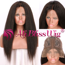 18 inch Virgin Human Hair Italian Yaki Lace Wig Vendors Natural Color Kinky Straight Lace Wig Human Hair for Black Women