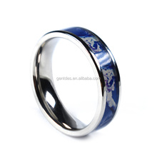 High Polished 6mm Blue Camo Wedding Band Ring
