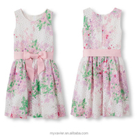 Printing kid dress designs teenage girls sleeveless floral ribbon double layer sash belt with bow at front children girls' dress