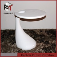 Fiber glass table glass top side table wholesale furniture