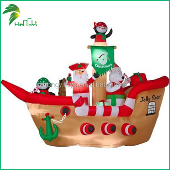 customized inflatable ship with christmas decoration