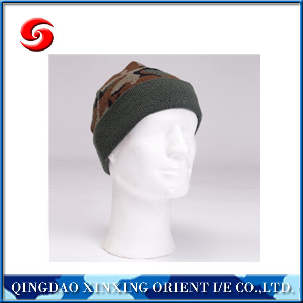 military style knitting beanie/knitted hat/Acrylic knitted hat