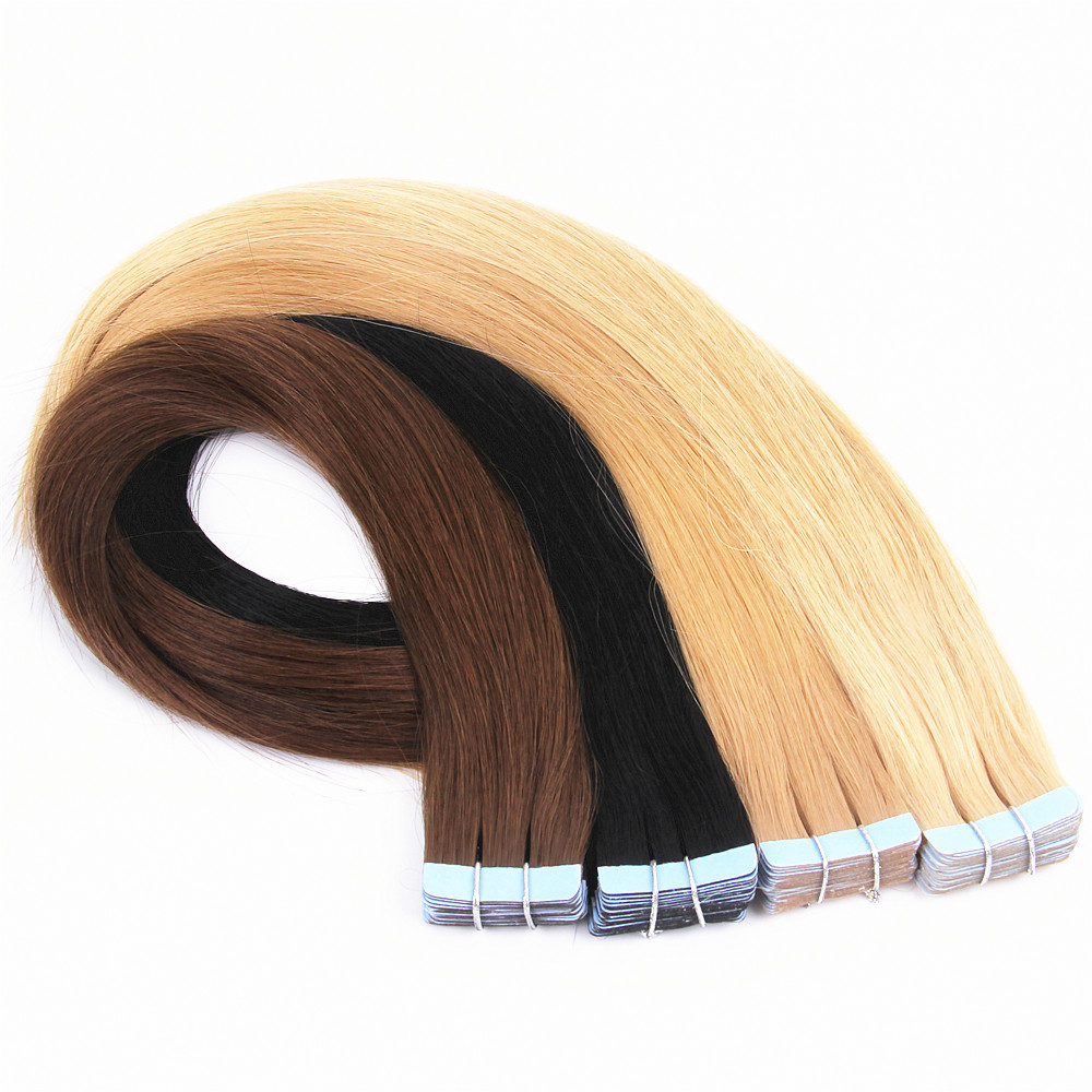 grade 8A double drawn russian  tape hair extensions