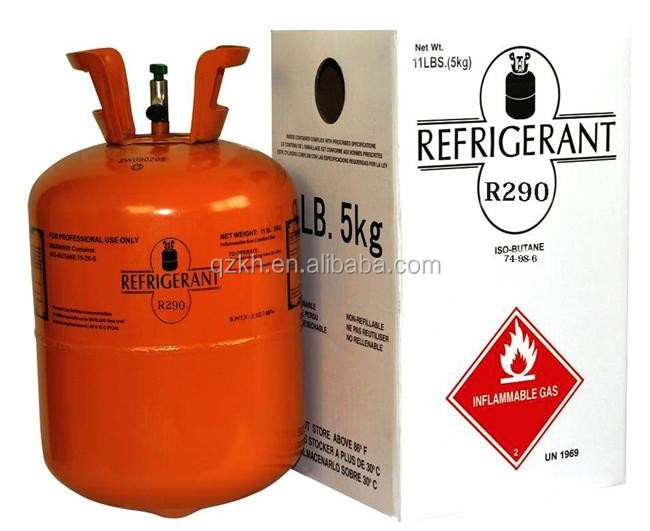 green Refrigerant gas propane R290 with high purity