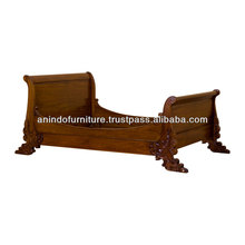 French Sleigh Heavy Carved Bed