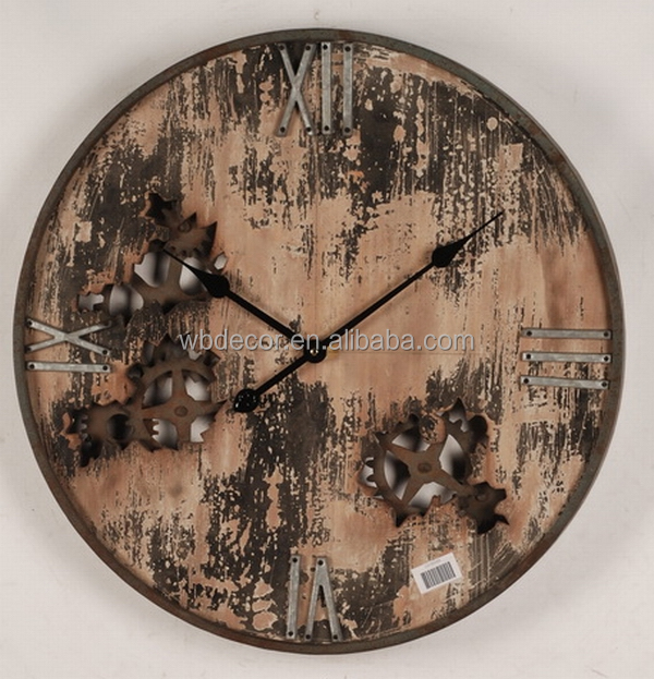 "23.5"" Vintage French Country Style Rustic Round Wood Wall Clock , Perfect for Housewarming Gift (Country Style)"