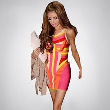 Color Block Geometric Rainbow 2014 New Fashion Women's Short HL Bandage Bodycon Girl Evening Party Dress