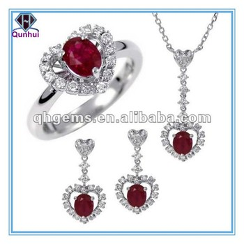 charm oval shaped crimson cz Earrings