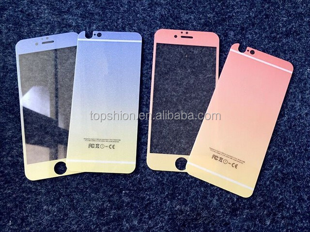 Hot for iphone 6 gradient colors tempered glass screen protector film, China supplier