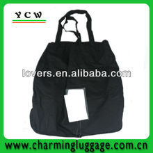 Black foldable shopping bag in pouch