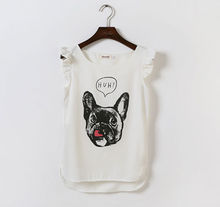 M30779A Korean lady fashion dog printed lovely lady's chiffon top