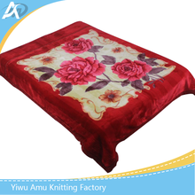 Thick Raschel Blankets big size Floral Rose print double Face bedding Throws red color wedding unique Gift blanket
