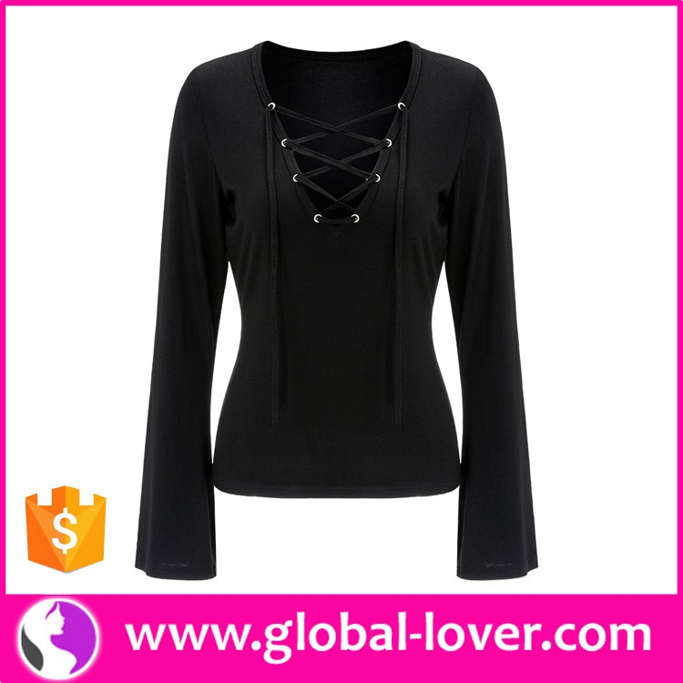 Ladies New Stylish Designer Open Front Black Casual Tops for Women 2016