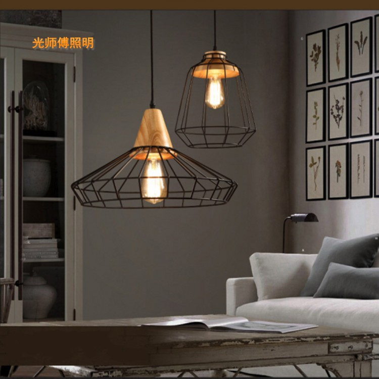 The New Nordic wood iron chandelier meal Cafe creative study office bar restaurant hanging lamp baby night light