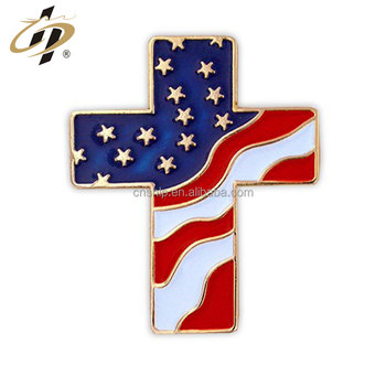 Custom gold soft enamel America flag lapel pin manufacturer from China