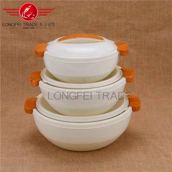 Household Elegant 3pcs insulated food warmer casserole/ plastic food container set