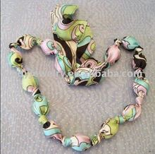 jewelry, floral fabric bead handmade scarf necklace