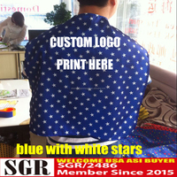 WD1501-10 printed white stars blue satin promotional cape with custom logo for team sports sales promotion