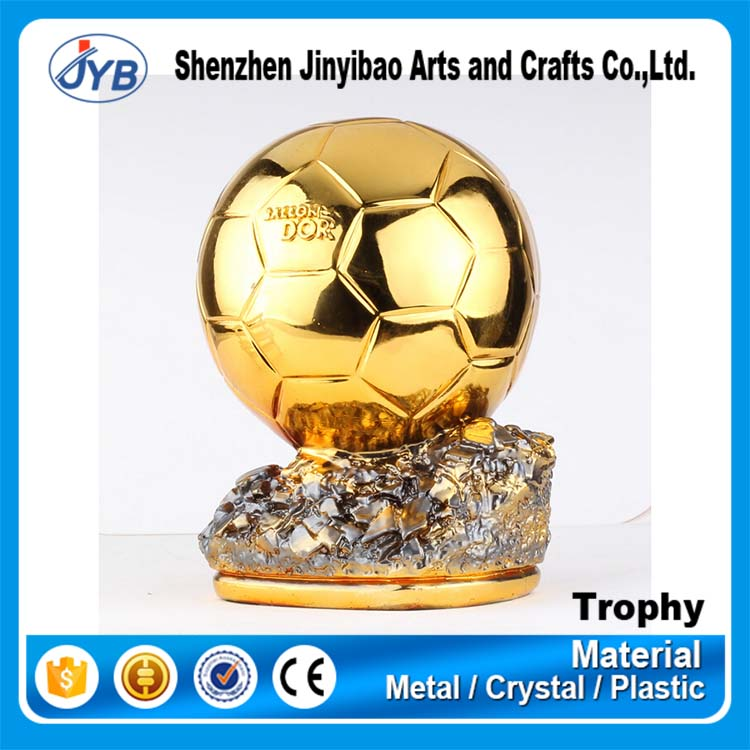 Cheapest plastic fans theme souvenir golden soccer ball trophies and awards
