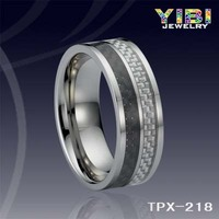 2016 Hot sale Chinese Brushed Tungsten Ring Grey Carbon Fiber inlay Jewellery