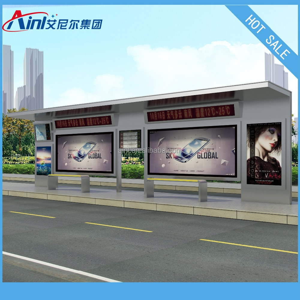 LCD screen bus stop shelter