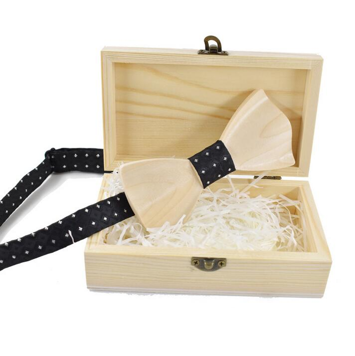 Perfect Wholesale Natural Color Wooden Bow Tie Storage Boxes For Packaging
